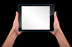 Touch screen tablet computer with hand Royalty Free Stock Photo