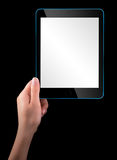 Touch screen tablet computer with hand Royalty Free Stock Image