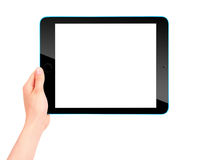 Touch screen tablet computer with hand Stock Photos