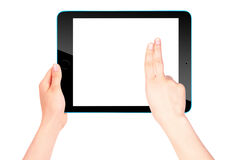 Touch screen tablet computer with hand Stock Images