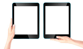 Touch screen tablet computer with hand Stock Photo