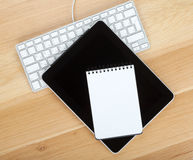 Touch screen tablet computer, notepad and keyboard Stock Photos
