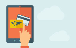 Touch screen tablet with credit card icon Stock Photo