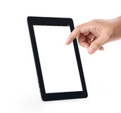 Touch screen tablet in hand Stock Photo