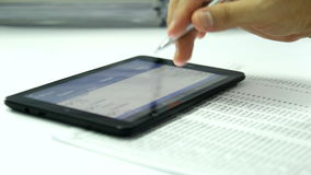 Touch screen tablet with numeric stock video