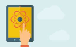 Touch screen tablet with science technology icon Stock Photo