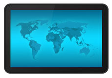 Touch screen tablet with world map XXL Royalty Free Stock Image