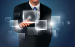 Touch screen technology. Business person working with modern virtual technology