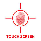 """Touch screen. Text """"touch screen"""" in red uppercase letters on white with circle enclosing finger print, possible identifier instead of password Stock Photography"""