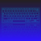 Touch screen virtual modern keyboard, glowing keys and reflection on blue background Royalty Free Stock Image