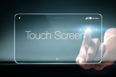 Touch screen wording on transparent smartphone Stock Photos