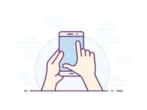 Smartphone gesture icon. Touch screen zoom gesture icon for smartphone. Vector icon for a mobile app user interface or manual. Smartphone screen with gesture Stock Images