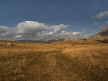 Touch the sky. The plateau in tje fall, southeast Bosnia and Herzegovina royalty free stock image