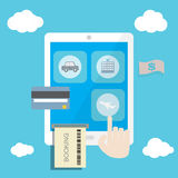 Touch smart phone or tablet to booking online. Concept Stock Images