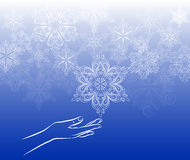 Touch snowflake background Royalty Free Stock Photography