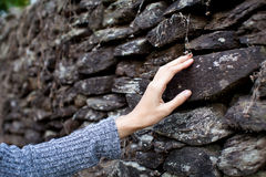 Touch the stone wall, nature touch Stock Image