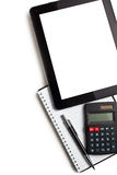 Touch tablet with calculator and blank paper Stock Image