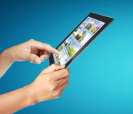 Touch tablet concept images streaming from Royalty Free Stock Image