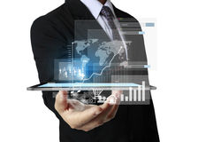 Touch- tablet in hands. Touch screen ,touch- tablet in hands Stock Image