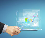 Touch- tablet in hands. Touch screen ,touch- tablet in hands Royalty Free Stock Images