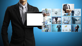Touch- tablet in hands. Touch screen ,touch- tablet in hands Royalty Free Stock Photos