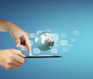 Touch- tablet in hands Stock Images