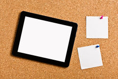 Touch tablet with note papers Stock Photography