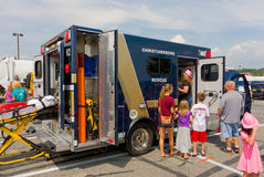 The touch-a-truck event at christiansburg in the summertime Royalty Free Stock Images