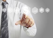 Touch virtual icon of social network. Hand touch virtual icon of social network Royalty Free Stock Photos