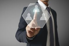 Touch virtual icon of social network. Hand touch virtual icon of social network Stock Photo