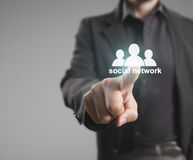 Touch virtual icon of social network Royalty Free Stock Image