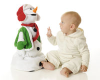 Touchable Snowman Royalty Free Stock Photo