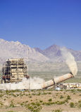 Touchdown. Smokestack collapses during demolition of Laughlin, Nevada power plant royalty free stock photo