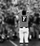 Touchdown BW. Referee with hands up Royalty Free Stock Image
