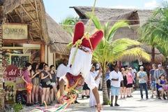 Touchdown door Mayan Indisch Stadscentrum Costa Maya Mexico Te vliegen Stock Fotografie
