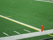 Touchdown Marker. The orange pylon marking the endzone line Royalty Free Stock Image