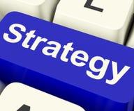 Touche d'ordinateur de stratégie pour des solutions ou des buts d'affaires Photos stock