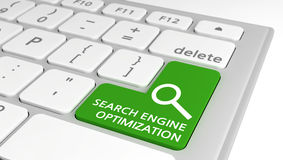 Touche d'ordinateur verte avec l'optimisation de Search Engine Photos libres de droits
