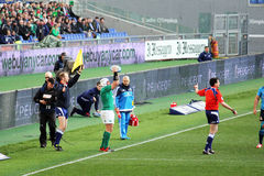 A touche. A irish player during a touche in the rbs rugby match italy vs ireland played at rome.7/12/2015 Royalty Free Stock Photo