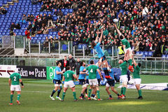 Touche mistake. A not good touche during the rbs six nations rugby match italy vs ireland played at rome.7/2/2015 Royalty Free Stock Image