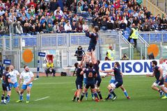Blue touche. A touche in the rbs six nations rugby match italy vs france played at rome. 11/3/2017 Royalty Free Stock Photo