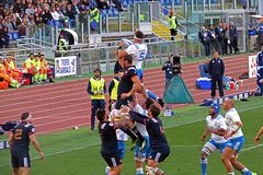 Winning touche. A touche in the rbs six nations rugby match italy vs france played at rome. 11/3/18 Stock Photo