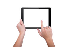 Touched the screen of the tablet Stock Photos