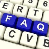 Touches d'ordinateur de FAQ dans l'information affichante bleue Image libre de droits