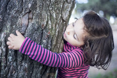 Touching  affectionately a tree. Inquisitive little girl, hugging and touching  affectionately a tree Royalty Free Stock Photography