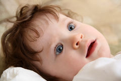 Touching baby close-up portrait Stock Images