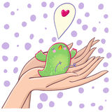 Touching bird. Holding in hands with care - cartoon illustration Royalty Free Stock Images