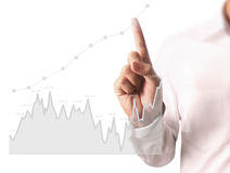 Touching business graph work Stock Images
