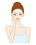 Touching Cheek - Skin care - Closed eyes Royalty Free Stock Photo