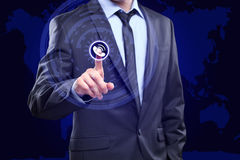 Touching Contact Us Concept on Visual Screen. Businessman pressing button. Touching Contact Us Concept on Visual Screen Royalty Free Stock Photo